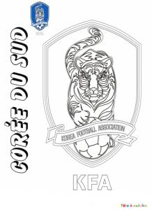 Coloriage du blason de foot de Corée du Sud
