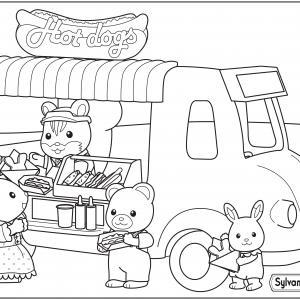 Les Sylvanian profitent de l'arrivée camion restaurant