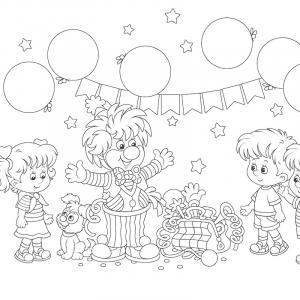Imprimer le coloriage du cirque : coloriage du cirque : fête avec un lcown