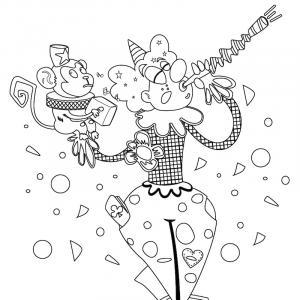 imprimez gratuitement le coloriage d'un clown de cirque en plein spectacle d'équilibre avec un singer