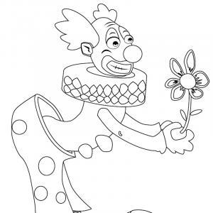 Imprimer le coloriage du cirque : un clown avec sa fleur piégée du cirque