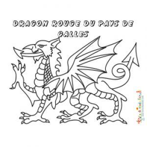 Coloriage du dragon du drapeau du pays de Galles