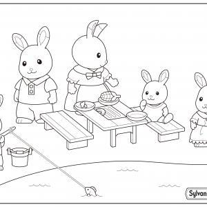 Un dessin à imprimer de la famille lapin qui pique nique