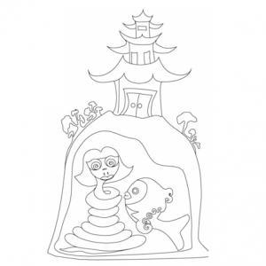 Illustration dde la légende du serpent blanc , la femme serpent et son amie le poisson bleu emprisonnées sous la pagode . Dessin à imprimer pour le coloriage