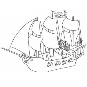 Ce bateau pirate porte le pavillon des pirates - imprimez le coloriage et laissez votre enfant colorier le bateau pirate et son drapeau noir à tête de mort
