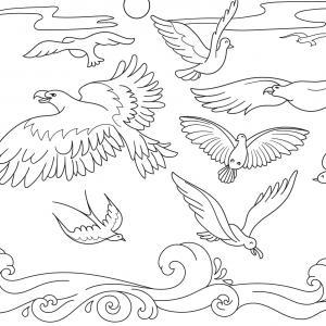 Coloriage d'oiseaux en plein vol. Un dessin à imprimer sur le thème des oiseaux.
