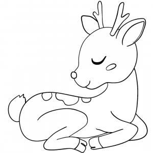 Retrouvez un coloriage de cerf ! Un dessin à imprimer gratuitement sur le thème des animaux de la forêt - Page 01