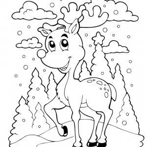 Retrouvez un coloriage de cerf ! Un dessin à imprimer gratuitement sur le thème des animaux de la forêt - Page 06