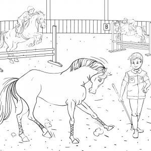 Dessin d'un cheval totalement harnaché et piaffant d'impatience en attendant l'arrivée de sa cavalière ou de son cavalier.