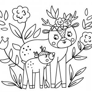 Retrouvez un coloriage de faon ! Un dessin à imprimer gratuitement sur le thème des animaux de la forêt - Page 09