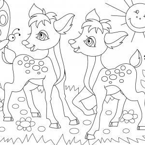 Retrouvez un coloriage de faon ! Un dessin à imprimer gratuitement sur le thème des animaux de la forêt - Page 10