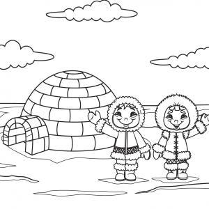 Imprimez votre coloriage d'igloo ou d'inuits gratuitement et proposez à votre enfant un joli coloriage sur le thème de la banquise et de l'hiver. Page 01