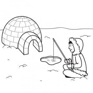 Imprimez votre coloriage d'igloo ou d'inuits gratuitement et proposez à votre enfant un joli coloriage sur le thème de la banquise et de l'hiver. Page 02