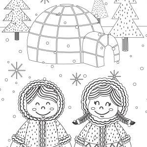 Imprimez votre coloriage d'igloo ou d'Inuits gratuitement et proposez à votre enfant un joli coloriage sur le thème de la banquise et de l'hiver. Page 06