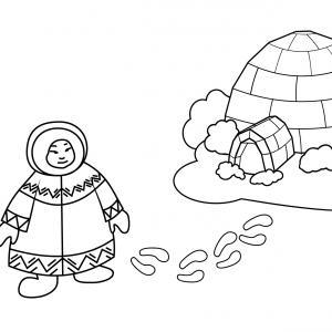 Imprimez votre coloriage d'igloo ou d'Inuit gratuitement et proposez à votre enfant un joli coloriage sur le thème de la banquise et de l'hiver. Page 07