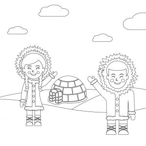 Imprimez votre coloriage d'igloo ou d'inuits gratuitement et proposez à votre enfant un joli coloriage sur le thème de la banquise et de l'hiver. Page 08