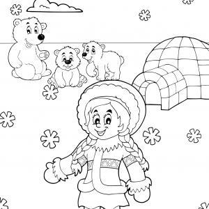 Imprimez votre coloriage d'igloo ou d'inuits gratuitement et proposez à votre enfant un joli coloriage sur le thème de la banquise et de l'hiver. Page 09