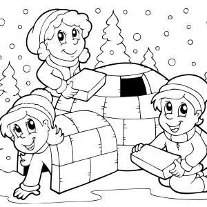 Imprimez votre coloriage d'igloo ou d'inuits gratuitement et proposez à votre enfant un joli coloriage sur le thème de la banquise et de l'hiver. Page 10