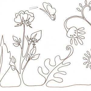 Imprimer le coloriage d'un jardin dessin 2 . coloriage de fleur gratuit