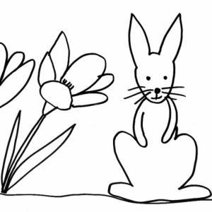 Imprimer le coloriage d'un lapin assis dans les crocus. Dessin très simple d'un lapin dans son jardin