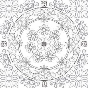 Un mandala dont le dessin est inspiré des carreaux de céramique du 19ème siècle à imprimer pour le coloriage des adultes. Un motif ancien et rétro pour s'initier au coloriage des adultes. Un coloriage de mandala carreau de céramique à imprimer gra
