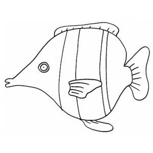 Coloriage d'un poisson d'avril à 4 bandes pour les enfants, à télécharger gratuitement et à imprimer. Un coloriage sur le thème de la mer pour occuper les enfants. Ce coloriage pourra être utilisé pour illustrer des dessins ou à coller dans un cahier de c
