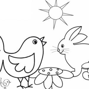 C'est la fête de Pâques et le poussin est en pleine discussion avec le lapin, un coloriage à imprimer pour les vacances ou le week-end de Pâques