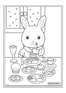 Un dessin à imprimer d'un repas chez la famille lapin