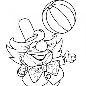 Coloriage d'un clown avec son ballon Un dessin sur le cirque et les clown pour le coloriage des enfants.