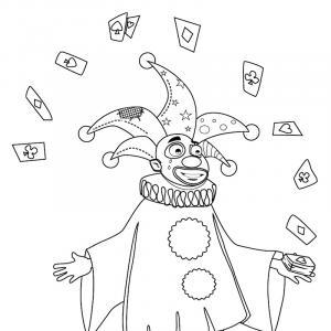 Imprimer le Coloriage d'une tête de clown en train de jongler a cirque. Un dessin sur le cirque et les clown pour le coloriage des enfants.