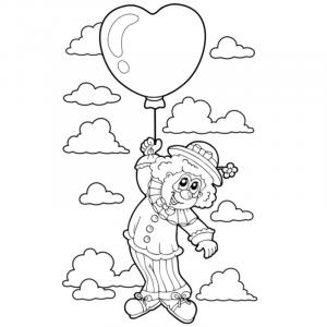 Coloriage enfant clown au ballon. Coloriage d'un dessin d'enfant clown suspendu à un ballon pour le cirque