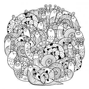 Voici un coloriage d'escargot à imprimer gratuitement. Un dessin d'escargot à imprimer pour tous les petits amoureux des animaux. Page 07