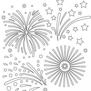 Coloriage feu d'artifice : un dessin à imprimer avec des feux d'artifices. Un coloriage à imprimer sur le thème de la Fête nationale - Page 01
