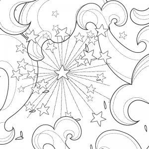 Coloriage feu d'artifice : un dessin à imprimer avec des feux d'artifices. Un coloriage à imprimer sur le thème de la Fête nationale - Page 02