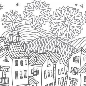 Coloriage feu d'artifice : un dessin à imprimer avec des feux d'artifices. Un coloriage à imprimer sur le thème de la Fête nationale - Page 03