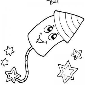 Coloriage feu d'artifice : un dessin à imprimer avec des feux d'artifices. Un coloriage à imprimer sur le thème de la Fête nationale - Page 05
