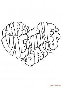 Voici le coloriage Happy Valentine's Day. Un joli dessin à imprimer gratuitement plein d'amour !
