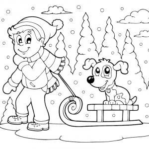 Voici un coloriage d'hiver à imprimer gratuitement. Un dessin d'hiver à imprimer pour tous les petits amoureux de la nature. Page 02