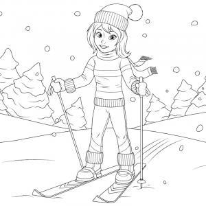 Voici un coloriage d'hiver à imprimer gratuitement. Un dessin d'hiver à imprimer pour tous les petits amoureux de la nature. Page 06