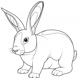 Voici un coloriage de lapin à imprimer gratuitement. Un dessin de lapin à imprimer pour tous les petits amoureux des animaux. Page 03