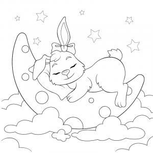 Voici un coloriage de lapin à imprimer gratuitement. Un dessin de lapin à imprimer pour tous les petits amoureux des animaux. Page 07