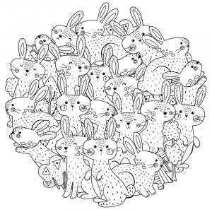 Voici un coloriage de lapin à imprimer gratuitement. Un dessin de lapin à imprimer pour tous les petits amoureux des animaux. Page 08