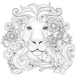 Coloriage lion : un dessin à imprimer avec un beau lion. Un coloriage à gratuit pour les petits amoureux de la savane - Page 6