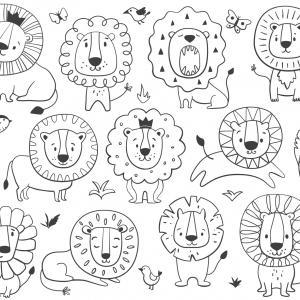 Coloriage lion : un dessin à imprimer avec un beau lion. Un coloriage à gratuit pour les petits amoureux de la savane - Page 7