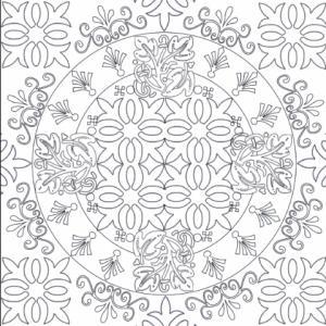 """Coloriage d'un mandala conçu comme un carreau pour le coloriage des adultes. Aucune place n'est perdu dans ce coloriage en carré puisque le mandala rond est """"encadré"""" de motifs à colorier eux aussi."""