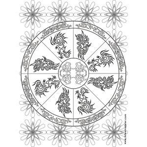 Coloriage mandala motif tribal