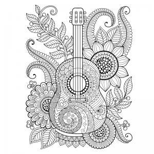 Coloriage musique : voici un dessin à imprimer sur le thème de la musique. Page 03