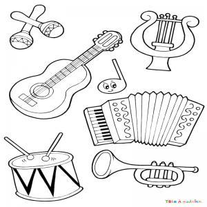 Coloriage musique : voici un dessin à imprimer sur le thème de la musique. Page 04