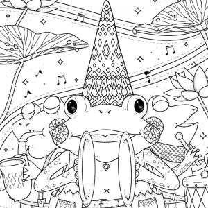 Coloriage musique : voici un dessin à imprimer sur le thème de la musique. Page 10