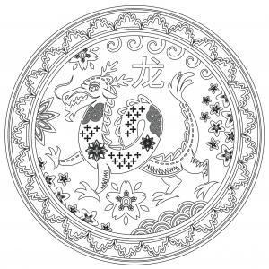 Voici un coloriage du Nouvel An chinois à imprimer gratuitement. Un dessin du Carnaval chinois à imprimer pour tous les petits amoureux de la Chine. Page 06